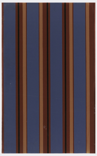 Blue, salmon and black stripe pattern on deep red ground.