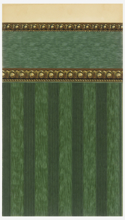 Stripe design, bands of green pinstripes alternating with bands of mottled green.