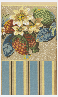 Large-scale pineapples and flowers printed over ground containing laurel or olive leaves in outline. Printed on pebble-textured paper.