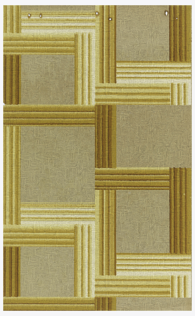 Grid design of deep and light yellow ocher printed on rough plaster-textured paper.
