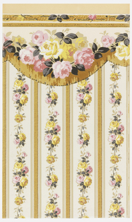 Floral stripe design with band of pink and yellow roses alternating with narrow band of gimp. Printed on white ground.