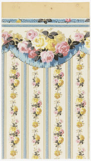 Floral stripe design. Wider band of pink and yellow roses alternating with narrower band of blue gimp. Printed on white ground.