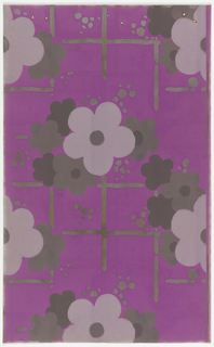 Floral and grid design with large-scale stylized florals over irregular grid design. Clusters of small dots randomly placed. Printed in metallic gold, pink and taupe on bright pinkish -purple ground.