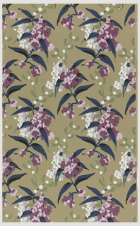 Floral sprigs with purple and white flowers printed on taupe ground.