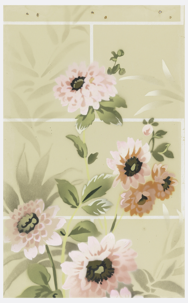 Ashlar block design overprinted with large-scale flowers and foliage. Tan ground.