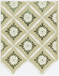 Diamond trellis pattern with a ribbon framework, knotted where ribbons intersect.  Within each grid is a stylized floral motif surrounded by foliage. Bottom edge cut out in shape of trellis framework. Printed on taupe ground.