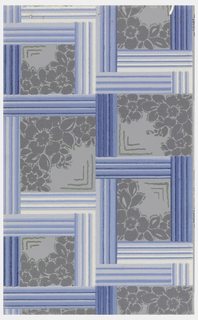 Grid design, with each grid containing a floral spring in one corner with chevron stripes in opposite corner. Printed on gray ground.