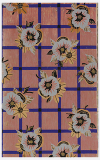 Trellis or grid design with cobalt blue framework overprinted with floral motif. Pinted on salmon-color ground.