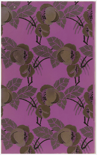 Open pattern of floral and foliage printed in metallic silver and gold on bright pinkish-purple ground.