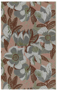 All-over floral and foliate design, printed on background of pink leaves over rough plaster-textured paper.