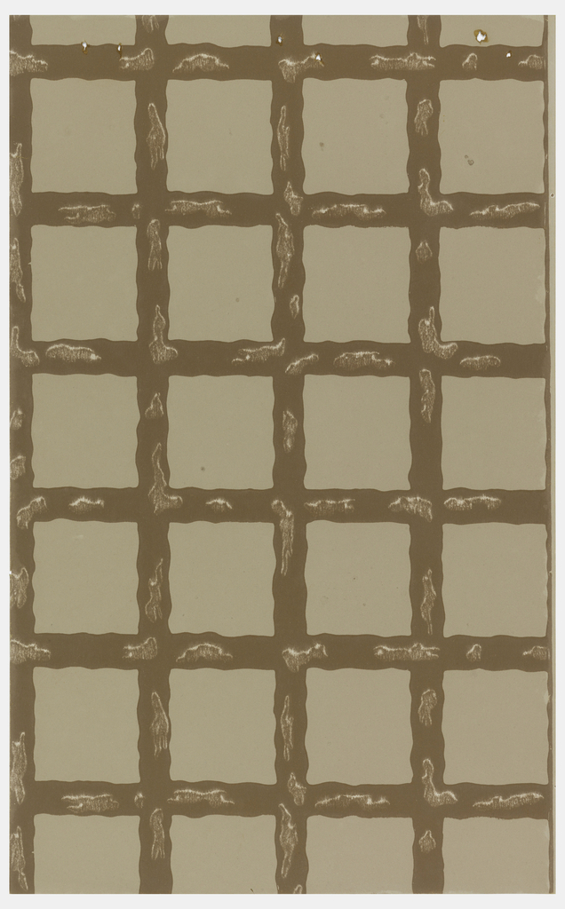Grid or trellis design with mottled brown wavy framework printed on taupe ground.