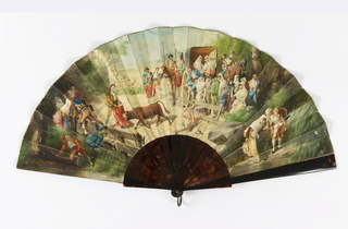 Pleated fan. Obverse shows a painted scene of a rural bullfight. Group of spectators to the right with a cart behind; to the left is a fence and a brook. Sticks are plain tortoise shell.