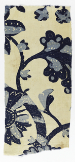 Fragment printed in two shades of blue on a white ground. Design of large undulating branches with leaves and flowers. White dots used in linear patterns to enhance the design.
