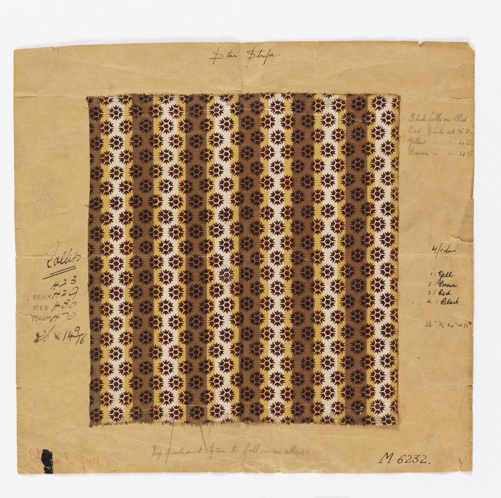 Roller printed textile sample in a pattern of brown, yellow and white vertical stripes overlaid with brown stars. Mounted to paper with handwritten notes.