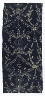 White pattern on a blue background. Vertically symmetrical pattern of swags gathered together with flowers and a tassel to form a grid enclosing two branches, each with a bird.
