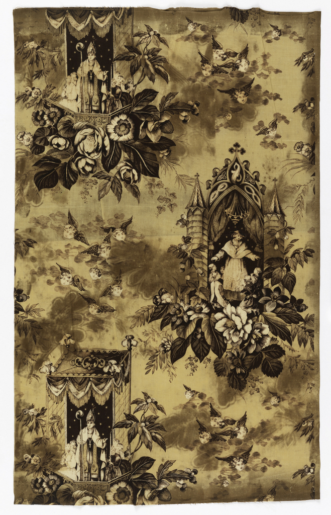 """Straight repeat of two offset ecclesiastical scenes:  A. Bishop celebrating mass under canopy; B. Priest blessing children under Gothic styled arch. Winged cherub heads fill spaces between scenes. White fabric printed deep purple for pattern and yellow for background. Length of repeat: 43.5 cm. (17 1/8"""")"""