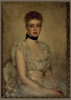 Portrait of young woman, wearing ruffled white dress with light pink sash, gold bracelets, black choker.