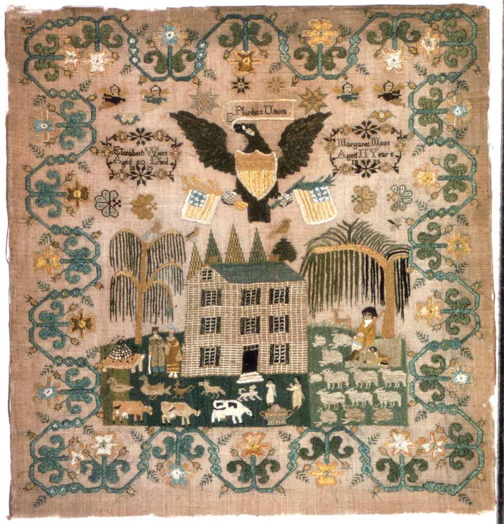 """Inside a scrolling floral vine border, a rural landscape with a large house, weeping willow trees, a shepherd with a flock of sheep, cows, ducks, a beehive, children playing and a man and woman strolling.  Above the house is a large eagle with a banner reading """"E Pluribus Unum,"""" flanked by two cartouches with inscriptions."""