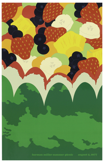 Poster depicts a close-up and cropped view of a fruit salad, composed of bananas, strawberries, blueberries, green grapes, and pineapple inside a bowl made of a watermelon which has been cut to have a scalloped edge. Text in green ink below: herman miller summer picnic august 5, 1977.
