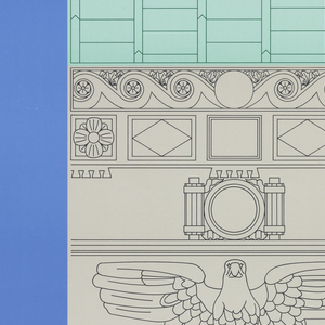 Poster depicts a vertical rectangle containing a line drawing of the upper story of a building's façade, focusing on the decorative elements: an eagle (under which some pigeons are perched), shutters, a lunette over the door; background is blue. Above, in white: GRAND RAPIDS ART MUSEUM.