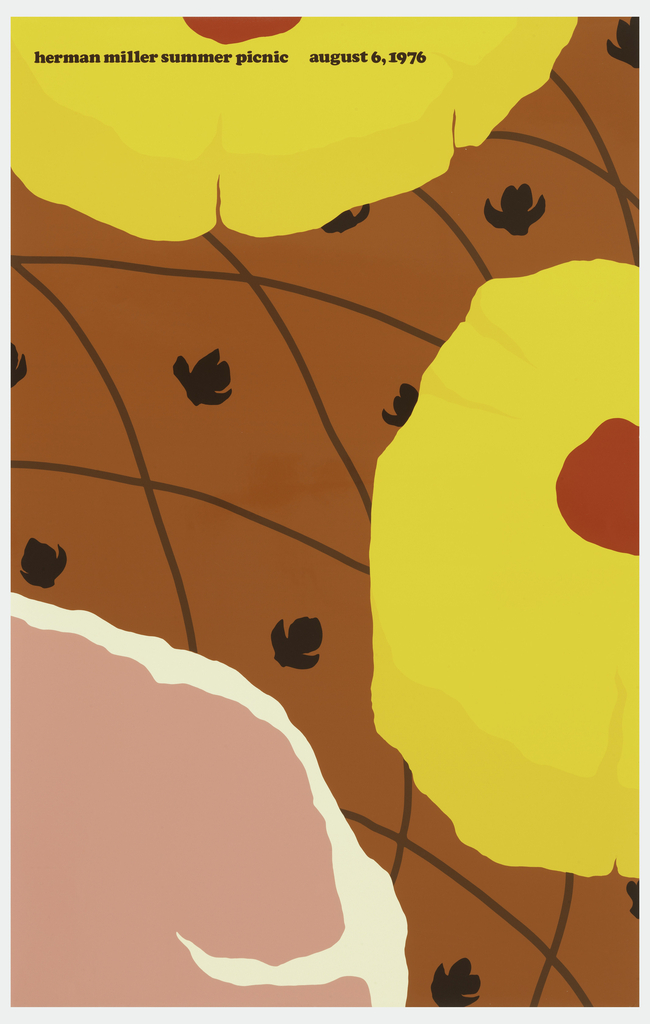 Poster depicts a close-up cropped view of a ham topped with pineapples and cherries; a sliced has been cut. Text above, in dark brown: herman miller summer picnic  august 6, 1976.