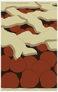 Poster depicts a close-up cropped view of a cherry pie. The crust in tan and the cherries dark red. Text above, in tan: herman miller summer picnic  august 8, 1975.