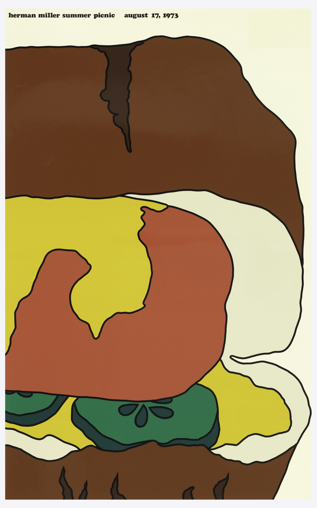 Poster depicts a close-up cropped view of a hotdog in a bun with mustard, and pickles. Text in black: herman miller summer picnic  august 17, 1973.