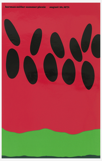Poster depicts a close-up cropped view of a slice of watermelon with large black seeds and bright green rind. Text in black: herman miller summer picnic  august 20, 1971.
