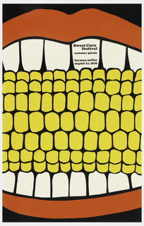 Poster depicts a close-up cropped view of a corn on the cob between teeth and red lips. Text in black: Sweet Corn / Festival / summer picnic / herman miller / august 21, 1970.
