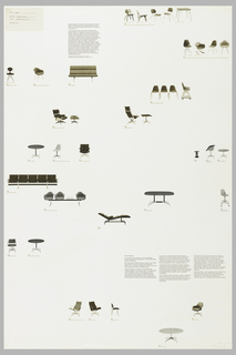 Poster depicts a variety of Charles Eames chairs, several of which are in the Museum of Modern Art's collection, with their model numbers; descriptions Eames and Herman Miller's relationship.