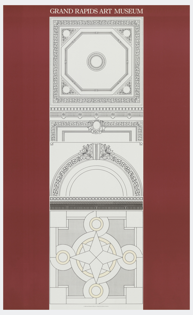 Poster depicts three different drawings of ceiling decorations on a maroon background. Above, in white: GRAND RAPIDS ART MUSEUM.