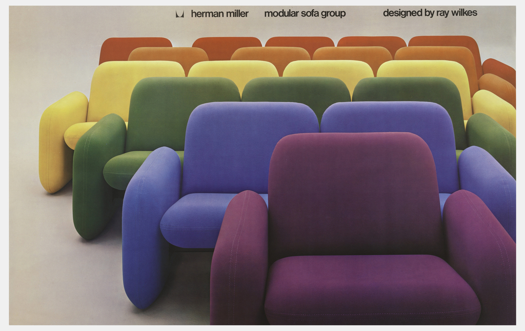 On beige ground, a photograph depicting rows of rainbow-colored seating, with the narrowest armchair at the front in purple and the largest sofa at the back in red.