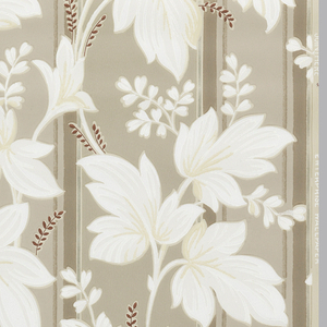 Floral stripe of white leaves and small maroon twigs on dark beige and metallic silver stripes on a tan ground.
