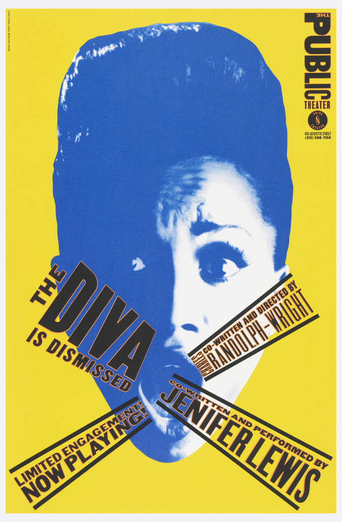 On a yellow-green ground, screenprinted photo of a woman with mouth open, as though singing; words in black come out of her mouth: THE DIVA / IS DISMISSED / LIMITED ENGAGEMENT / NOW PLAYING / JENIFER LEWIS… Upper right: PUBLIC THEATER [logo].