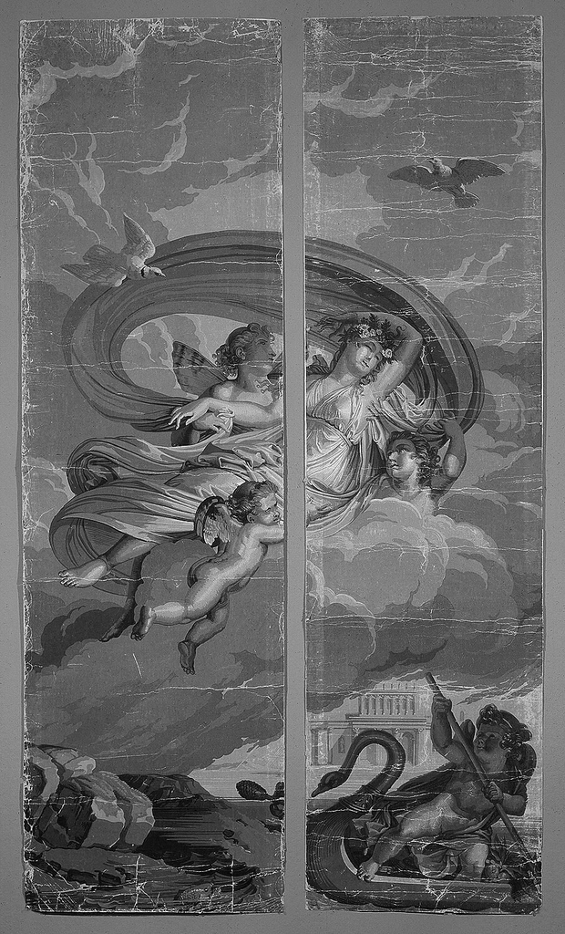 """Set of scenic wallpaper """"Les Amours de Psyche"""", consisting of 26 panels.  In grisaille.  Scene of two panels depicts Psyche carried by zephyrs on a cloud with a swan-boat in ocean below."""