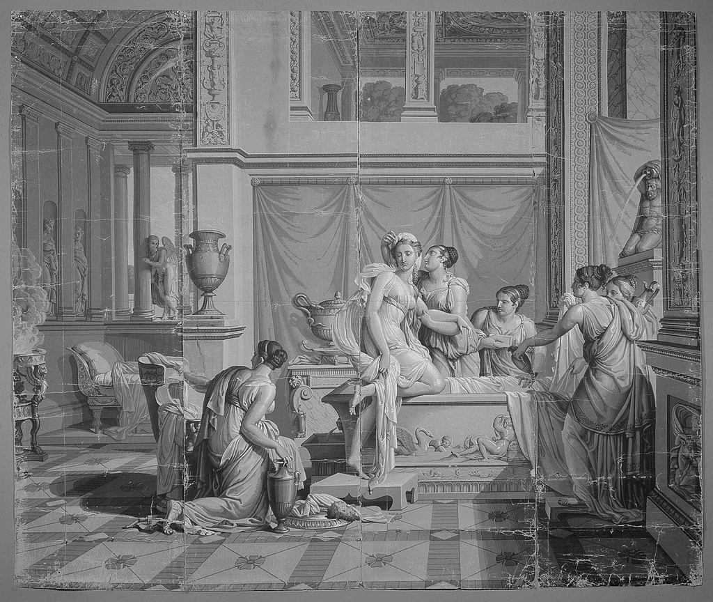 "Set of scenic wallpaper ""Les Amours de Psyche"", consisting of 26 panels.  In grisaille.  This scene depicts Psyche, as she steps out of her bath, leaning arm on one of her attendants.  Cupid watches in background."