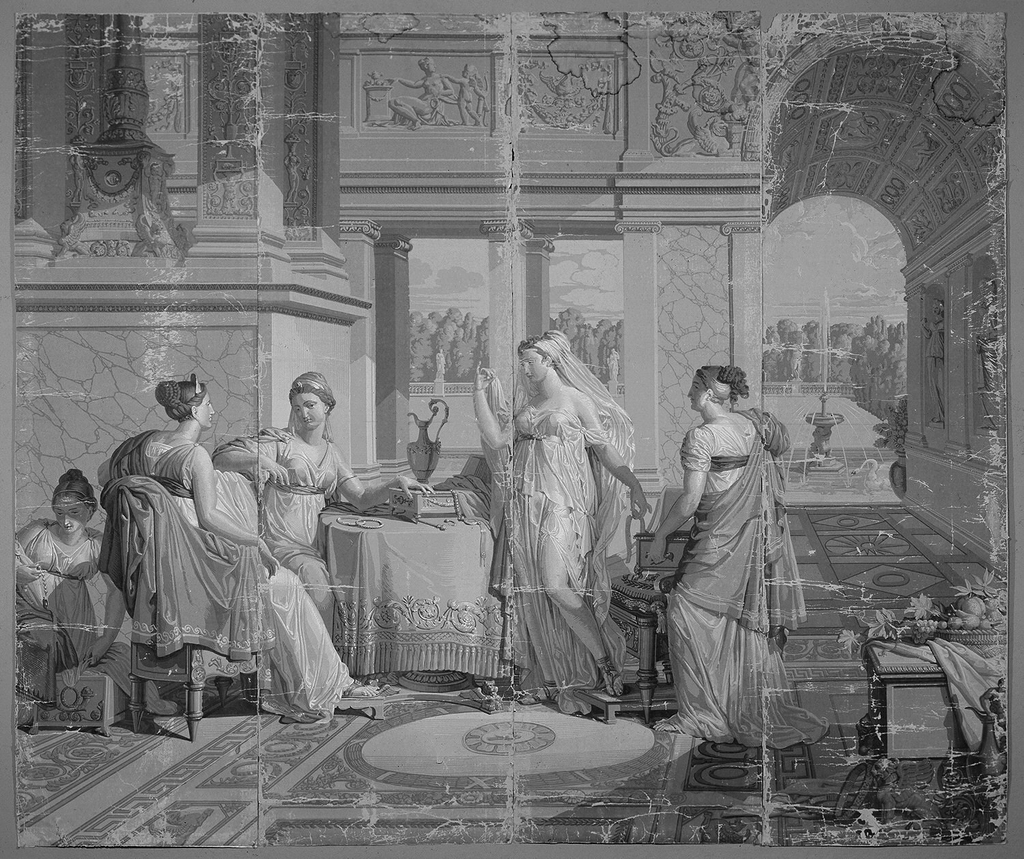 "Set of scenic wallpaper ""Les Amours de Psyche"", consisting of 26 panels, printed in grisaille on machine made paper. Scene depicts Psyche showing her jewels to her sister."