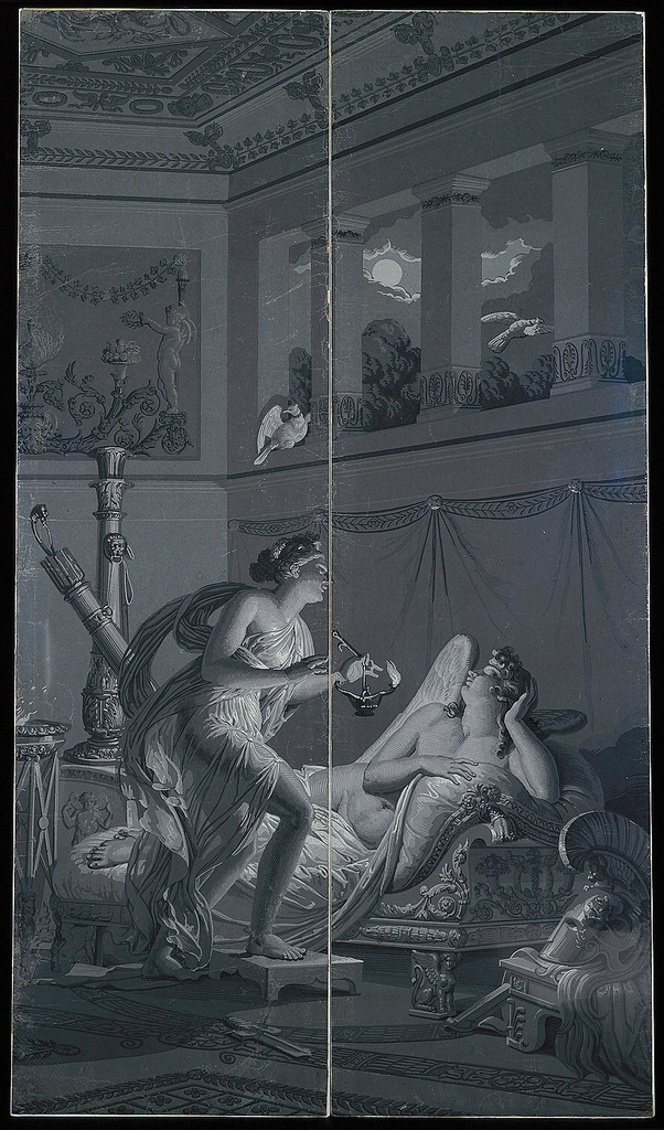 """Set of scenic wallpaper """"Les Amours de Psyche"""", consisting of 26 panels; """"Psyche Surprises the Sleeping Cupid"""" is one of twelve scenes inspired by the Jean de La Fontaine story, """"Les Amours de Psyche et Cupidon (1669). The narrative required twelve hundred forty-five woodblocks for printing. The scene depicts Psyche trying to stab sleeping cupid."""