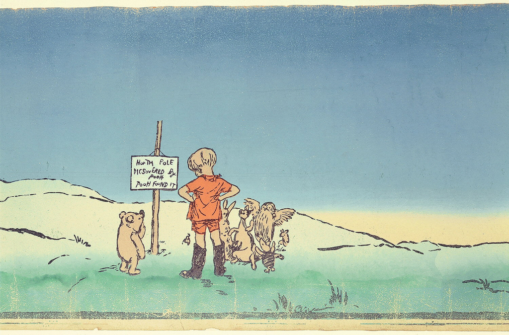 """This children's frieze illustrates chapter eight, """"Christopher Robin Leads an Expotition to the North Pole"""" from """"Winnie the Pooh"""", by A.A. Milne, 1926. The frieze incorporates the original book illustrations by E.H Shephard which have been made continuous by the addition of an idyllic landscape."""