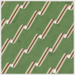Against a green background, chevron motif in beige, white and brown.