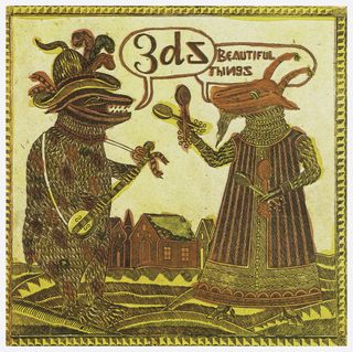 Record sleeve depicts two creatures playing instruments with houses in the background. Above, in speech bubbles: 3ds; BEAUTIFUL / THINGS.