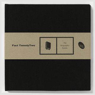 "CD packaging from Emigre Music. CD cover in form of miniature black book.  Black hard cover in textured fabric. Natural brown paper book slip that sildes over book. Imprinted in black, left center on slip: ""Fact TwentyTwo"" and black outlined rectangle divided in half.  First box, black illustration of book and second box, imprinted in black: ""The/ Biographic/ Humm.""  Imprinted on right side: logo of ""EMIGRE"" of slanted black ellipse. Inside CD book, unpaginated pages with song titles and lyrics. Page 1. Recto: Imprinted in black, on left: ""The/ Biographic/ Humm"" and illustration of book on right.  Imprinted in black, below: ""Fact TwentyTwo"".  Verso: Square divided into three sections.  Top section, imprinted in black: ""Words and music written and recorded by JAMES TOWNING..."" and additional credits.  Bottom left section contains ""53.47"" which is total playing time of CD.  ""Bottom right section contains list of songs-""1. James T. Kafka/ 2. Emanation Feel/ 3. Immortal Earache/ 4. Electrical Storms/ 5. Tragedy/ 6. Seth Sez/ 7. Citizen/ 8. Collapse/ 9. Skullcracker/ 10. Watching Children Sleep/ 11. Douglas Rain/ 12. Closing"" Page 2. Recto: Superimposed on pixelated image of man's head in brown tones, illustration of music recorder and perpendicular black lines with logo on upper left.  Imprinted in black, below: ""ECD 007X"" Imprinted in black, bottom: ""Graphic design by Emigre Graphics.  Illustrations by James Towning"".  Verso: Square divided into three sections of unequal area which is repeated motif throughout all pages.  Imrpinted in black ""I/ James T. Kafka"" and lyrics ""Lay me down in this cotton have me now.../ bye bye love...die die love/...life goes on with such velocity."" Page 3. Recto: ""4:47"" and image of hand gripping machine labelled ""Yow"", ""Roll"", ""Pitch"", ""Lock Pin"".  Verso: ""3:32"" and image of black and white photograph of flowers. Page 4. Recto: ""2/ Emanation Feel"" and lyrics ""The air will change when it starts to rain/...an ultra violet death ray magnifying heat, impulsive/...every day""  Verso: ""3/Immortal Earache"" with lyrics ""I got an earache the other day, it woke me from my sleep.../rhyme this and rhyme that the gears are sticky inside my brain"". Page 5. ""5:01"" with image of computer generated whirlpool over ear.  Verso: 4/ Electrical Storm"" with lyrics ""Program your mind there's nothing to find erroes evolve into chaos.../Power all around me Energy surrounds me/...the modern life of a useful appliance friendship slave ideal alliance mahcine's worst enemy/ man's best friend kill the power"" Page 6. Recto: ""3:27"" with image of broken light switch.  Verso: ""2:57"" with image of repeated figure of man in hat with one in all white. Page 7. Recto: ""5/Tragedy"" witih lyrics ""The most important man in the world his most important song about nothing being wrong/...The most important man in the world his mediocre life ends with knife/ to his back"" Verso: ""6/ Seth Sez"" with lyrics ""Joe Fear. Joe Desire. Walking around with the same old story.../LIFE TO LIVE.  LIVE WITH RISK. LOVE YOUR GOD. GOD ABOVE/ GOD BELOW/GOD BE HERE. GOD BE NOW..."" Page 8. Recto: ""6:13"" with photo of eyes of man with rip running inbetween two eyes.  Verso: ""7/ Citizen"" with lyrics ""Citizen One don't you know that all the world's a puppet show.../false friendship and television dreams the moon..."" Page 9. Recto: ""5:51 with picture of painting of man with sad countenance.  Verso: ""3:28"" with image of outline titled ""LESSON 1/ HEALTH"" Page 10. Recto: ""8/ Collapse"" and lyric ""A shrinking man That's what I am...""  Verso: ""9/Skullcracker"" with lyric ""Holding on by a thread almost wishing your were dead.../Skull cracker saving grace got to get out of this awful place..."" Page 11.  recto: ""6:46"" with image of collage of hand gun against newpaper classified and man in narrow room.  Verso: ""10/ Watching Children Sleep"" with lyric ""I saw a dog from my second floor window watching with binoculars.../the unanswered questions end the inevitable end is it better to be aware?  Yes, but I envy them."" Page 12. Recto: ""6:48"" with photomontage of text and photo of binocular glasses and woman wearing one.  Verso: ""2:04"" with photomontage of man's face in central circle with top 1/2 of man in white and legs and feet below. Page 13. Recto: recto: ""11/ Douglas Rain"".  Verso: ""12/ We all part company..."" Page 14. Recto: ""2:32"" with photograph of fortunes from fortune cookies.  Verso: ""Fact TwentyTwo Disco-Graphy"" and three columns below listing 1 through 16 albums available in CD or Cassette. Book end: CD slip in plastic with CD imprinted with red square and Emigre logo and ""Fact TewntyTwo"" spread across."