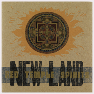 On a cardboard ground, a sun-like image with circle medallion tribal design in maroon, blue, and black. Below, in black ink: NEW LAND; overlapping this, in gold: RED TEMPLE SPIRITS.
