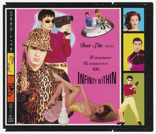 Depicts various individuals posing and placed on a pink background, clockwise from left: a man with a leopard print hat, umbrella and shirt, with black gloves and black long sleeves; a man with a studded belt, red turtleneck, and dark sunglasses looking through a video camera; one man steering and a man and a woman posing in a flying dish spaceship; and a woman posing in lounging position near a curvy white vessel. Text in black on pink background, at center: Deee-Lite PRESENTS/ SEE SHOCKING GROOVELICITY/ FEEL THE REALNESS OF THE ITCH/ HEAR.../ INFINITY WITHIN. Left side: Small shapes of pattern in pink on yellow and red on black; above, in white on black: DEEE-LITE; below, in white on black: LET'S/ FACE/ IT/ IT'S/ A/ PRO-/ CHOICE/ ALBUM! Right side: above, a red-haired woman against a blue background; middle, a man wearing a black and red hoodie with pink sleeves against a yellow backgound; below, the same man in the red turtleneck depicted in the center of the album. Verso: Photographs of band members superimposed on a red rose which is in turn superimposed on multi-colored psychedelic abstract image.