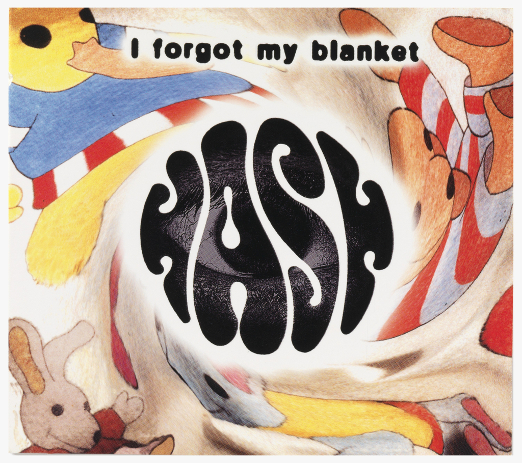 """Background is child's blanket computer-generated to look as if it is spinning.  """"HASH"""" in psychedelic font at center of the blanket.  An eye peers out through the """"HASH"""" logo.  Centered at top in lback font:  I forgot my blanket"""