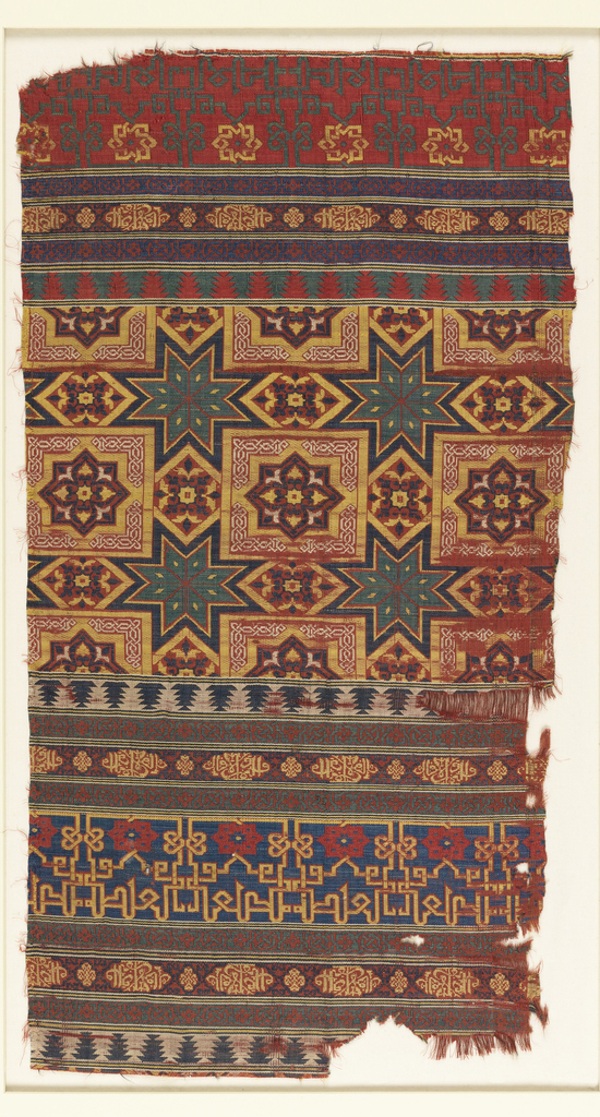 "Fragment of woven silk with horizontal bands of geometric pattern including various interlace patterns, eight-pointed stars, and kufic script in the form of lobed medallions. The script is translated as ""Sucess and prosperity"" and ""Beatitude."""