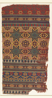 Fragment of woven silk with horizontal bands of geometric pattern including various interlace patterns, eight-pointed stars, and kufic script in the form of lobed medallions.