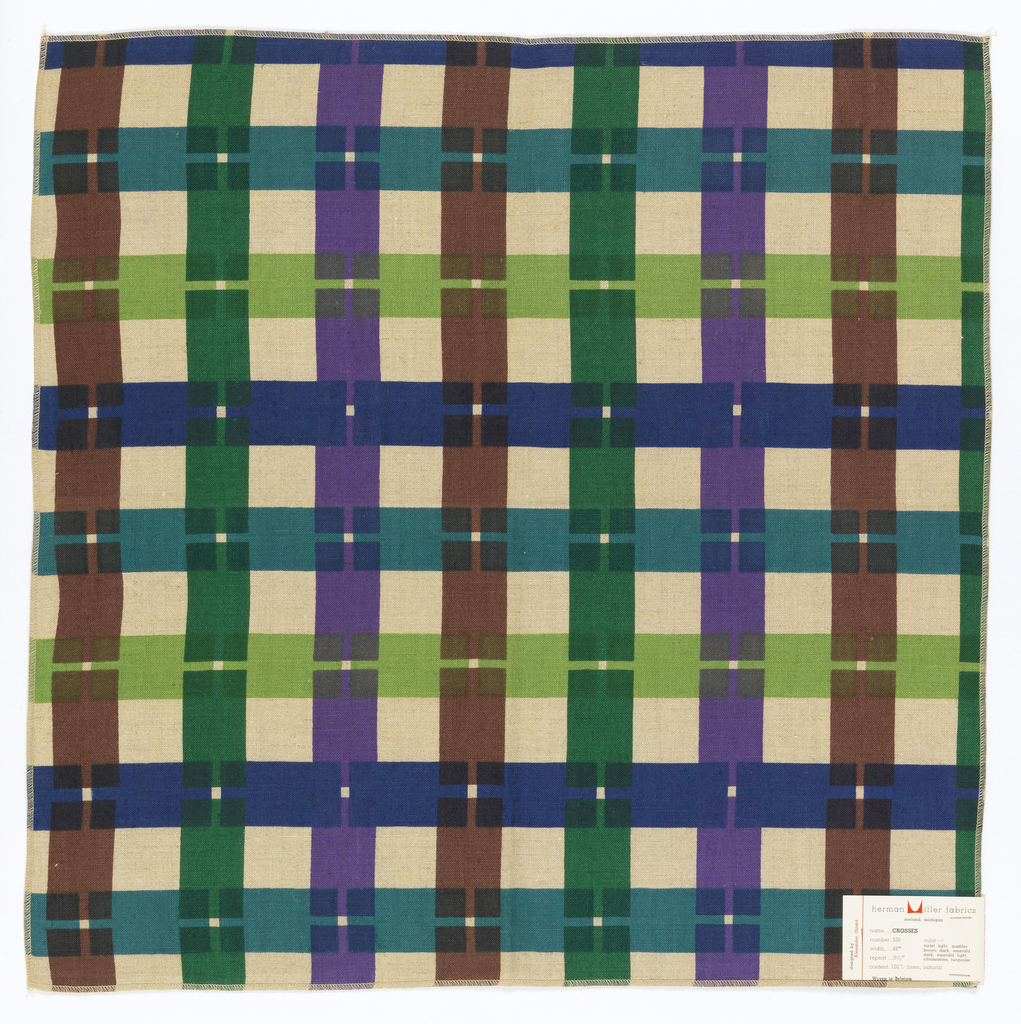 Interrupted stripes in vertical and horizontal directions. Purples, blues, greens printed on natural color linen. Serged on all four sides.