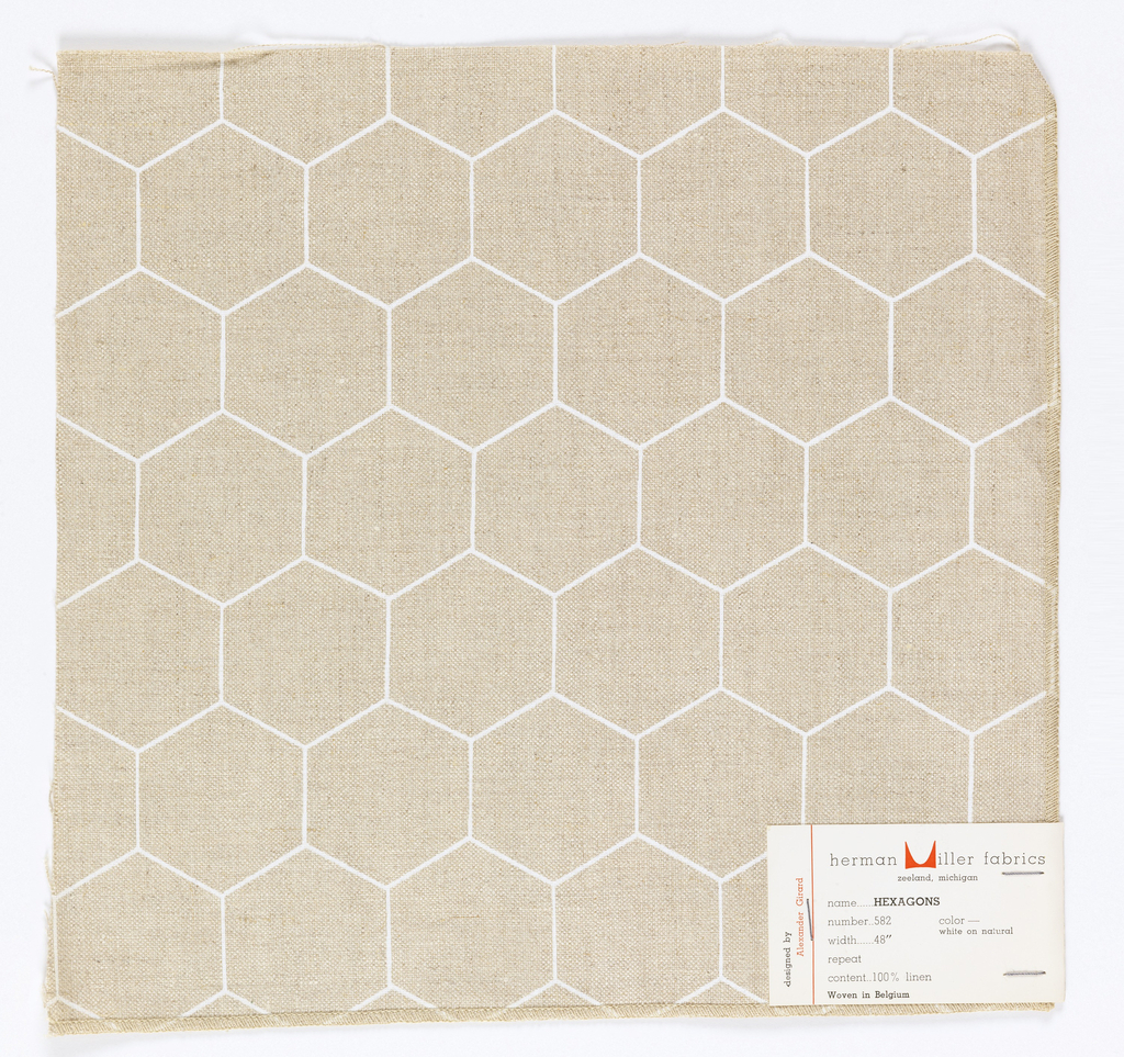 White honeycomb pattern printed on tan ground. Serged on 2 sides and cut on two sides.