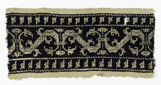 a) Dark blue embroidery on natural linen, the pattern in natural linen: band with a continuous vine made up of mirror image z-scroll, narrow border with geometric leaf or floral forms at top and bottom.  b) Small section of A.